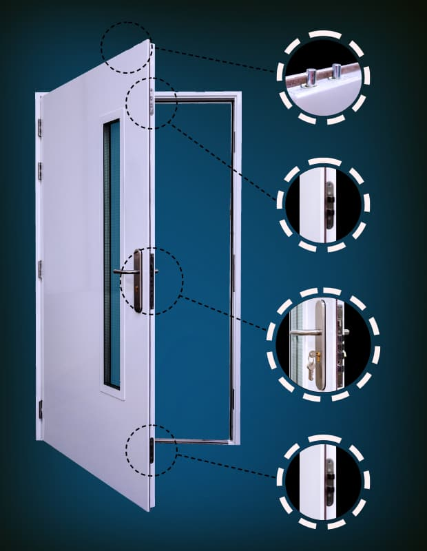 Kirncroft Security Doors 10-Point Locking Features